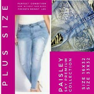 Paisley Sky Jeans Size 16/33X32 Skinny Leg NWOT